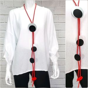 Luukaa Statement Necklace Red Rubber/Metal